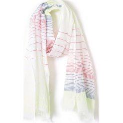 Szal w paski. Białe paski damskie La Redoute Collections, z aplikacjami, z jeansu. Za 58,76 zł.