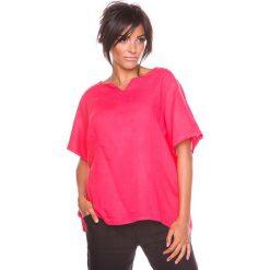 """Bluzki asymetryczne: Lniana koszulka """"Shirane"""" w kolorze koralowym"""