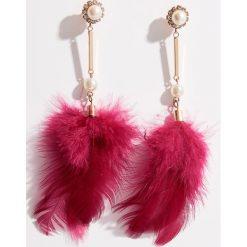 Kolczyki damskie: Długie kolczyki z piórami - Bordowy