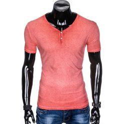 T-SHIRT MĘSKI BEZ NADRUKU S894 - KORALOWY. Pomarańczowe t-shirty męskie z nadrukiem Ombre Clothing, m. Za 39,00 zł.