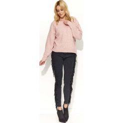 Swetry damskie: Różowy Sweter Klasyczny Melanżowy z Okrągłym Dekoltem