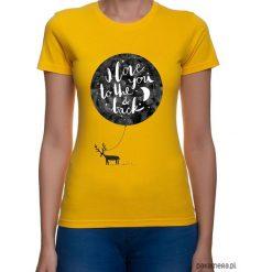 Koszulka damska. I love to the you & back. Pomarańczowe bluzki z odkrytymi ramionami marki Pakamera, z nadrukiem. Za 79,00 zł.