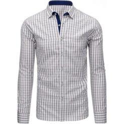 Koszule męskie na spinki: Szara koszula męska w kratę z długim rękawem (dx1300)