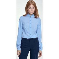 Bluzki damskie: Błękitna Bluzka Koszulowa ze Stójką