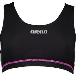 Biustonosz bikini w kolorze czarno-różowym. Czarne bikini Arena, z nadrukiem, z materiału. W wyprzedaży za 86,95 zł.
