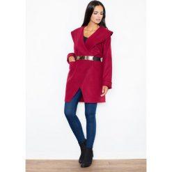 Płaszcze damskie: Bordowy Krótki Stylowy Płaszcz z Dużym Kołnierzem bez Zapięcia