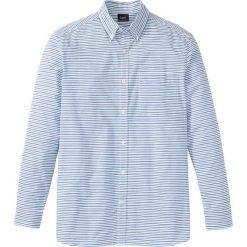 Koszula z długim rękawem Regular Fit bonprix niebiesko-biały w paski. Białe koszule męskie na spinki marki bonprix, z klasycznym kołnierzykiem, z długim rękawem. Za 49,99 zł.