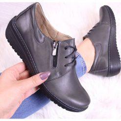 Buty ślubne damskie: Skórzane półbuty na koturnie szare Helios 328