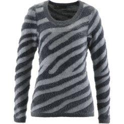 Sweter bonprix dymny szary - srebrny wzorzysty. Szare swetry klasyczne damskie bonprix, z okrągłym kołnierzem. Za 109,99 zł.