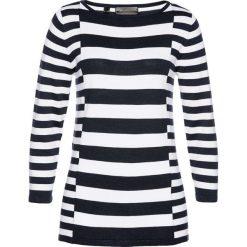 Swetry klasyczne damskie: Sweter bonprix biało-ciemnoniebieski