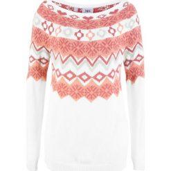 Sweter wzorzysty bonprix biel wełny wzorzysty. Białe swetry klasyczne damskie marki bonprix, z wełny. Za 74,99 zł.