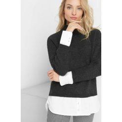 Sweter z koszulowymi wstawkami. Szare swetry rozpinane damskie Orsay, xs, z bawełny. Za 119,99 zł.
