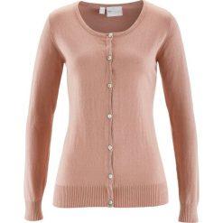 Swetry rozpinane damskie: Sweter rozpinany z domieszką jedwabiu bonprix stary jasnoróżowy