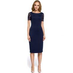 Sukienka z koronkowymi wtawkami moe274. Niebieskie sukienki koktajlowe marki SaF, na co dzień, xl, z żakardem, z asymetrycznym kołnierzem, dopasowane. Za 149,90 zł.