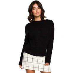 Czarny Kimonowy Sweter z Kontrastowymi Mankietami. Czerwone swetry oversize damskie marki Molly.pl, l, z jeansu, biznesowe, z dekoltem na plecach, z długim rękawem. Za 105,90 zł.