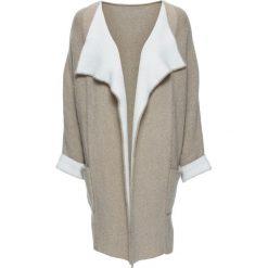 Płaszcz z domieszką wełny bonprix beżowo-biały. Brązowe płaszcze damskie pastelowe bonprix, z materiału. Za 189,99 zł.