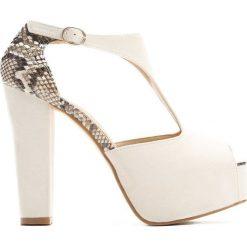 Białe Sandały Stuk In Love. Białe sandały damskie na słupku Born2be, z materiału, na wysokim obcasie. Za 69,99 zł.