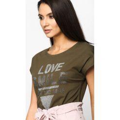 T-shirty damskie: Khaki T-shirt Love Smile