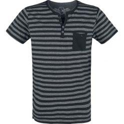T-shirty męskie: Urban Surface Striped Button Shirt T-Shirt czarny/jasnoszary