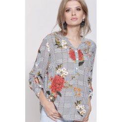 Bluzki damskie: Pomarańczowo-Brązowa Bluzka Flowers Lines