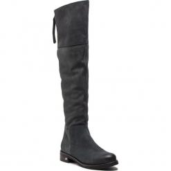 Muszkieterki NESSI - 18409  Szary 92. Szare buty zimowe damskie Nessi, z nubiku, przed kolano, na wysokim obcasie, na obcasie. Za 499,00 zł.