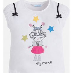 Mayoral - Top dziecięcy 98-134 cm. Szare bluzki dziewczęce Mayoral, z nadrukiem, z bawełny, z okrągłym kołnierzem, z krótkim rękawem. Za 79,90 zł.