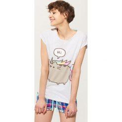 Piżamy damskie: T-shirt piżamowy pusheen – Jasny szar