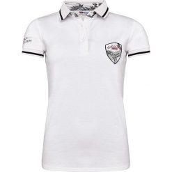 """Bluzki damskie: Koszulka polo """"Palms"""" w kolorze białym"""