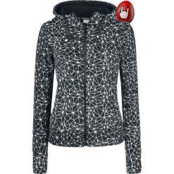 Bluzy polarowe: Bench Heritage Fleece ZIP Through Hoodie Bluza z kapturem rozpinana damska czarny/biały