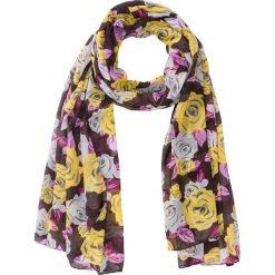 Chusta w kwiaty bonprix jeżynowo-żółty kukurydziany-biały-jasnoszary. Fioletowe chusty damskie bonprix, na jesień, w kwiaty. Za 44,99 zł.