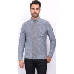 Golfy męskie: Sweter rozpinany w kolorze szarym