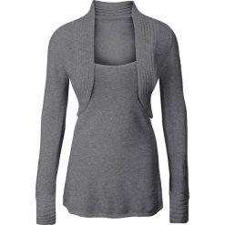 Sweter z bolerkiem 2 w 1 bonprix szary melanż. Szare swetry klasyczne damskie bonprix. Za 89,99 zł.
