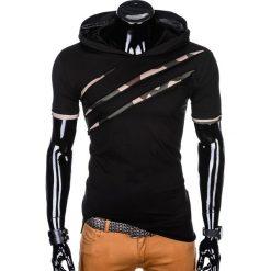 T-SHIRT MĘSKI Z KAPTUREM I NADRUKIEM S1019 - CZARNY. Czerwone t-shirty męskie z nadrukiem marki Cropp, l, z kapturem. Za 49,00 zł.