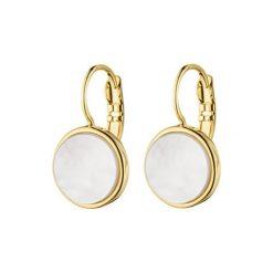 Kolczyki damskie: Kolczyki w kolorze złotym z masą perłową