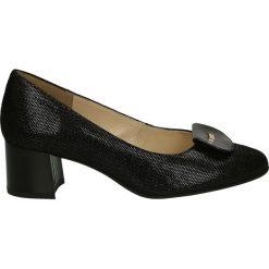 Czółenka - F311-O PUN NE. Czarne buty ślubne damskie Venezia, ze skóry. Za 299,00 zł.