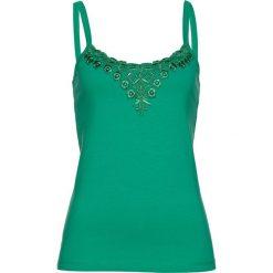 Top bonprix szmaragdowy. Zielone topy damskie bonprix, w koronkowe wzory, z koronki. Za 34,99 zł.