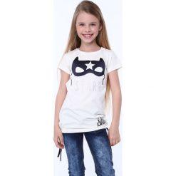 T-shirty dziewczęce: Koszulka z aplkacją maska kremowa NDZ5322