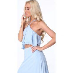 Sukienka z odkrytym brzuchem jasnoniebieska ZZ358. Niebieskie sukienki Fasardi, l. Za 119,00 zł.