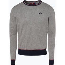 La Martina - Sweter męski, szary. Szare swetry klasyczne męskie La Martina, l, z haftami, prążkowane, z kontrastowym kołnierzykiem. Za 599,95 zł.