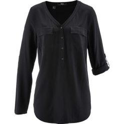 Bluzka z wiskozy, długi rękaw bonprix czarny. Czarne bluzki longsleeves bonprix, z wiskozy. Za 74,99 zł.
