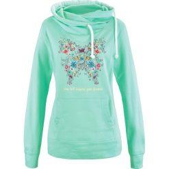 Bluzy damskie: Bluza z kapturem bonprix jasny miętowy z nadrukiem