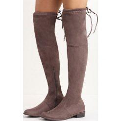 Jasnobrązowe Kozaki Espresso. Brązowe buty zimowe damskie Born2be, z okrągłym noskiem, za kolano, na płaskiej podeszwie. Za 99,99 zł.
