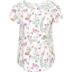 Bluzka, krótki rękaw bonprix biel wełny w kwiaty. Białe bluzki asymetryczne bonprix, w kwiaty, z wełny, z krótkim rękawem. Za 59,99 zł.