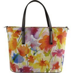 Torebki klasyczne damskie: Skórzana torebka z kolorowym wzorem – 34 x 28 x 13 cm