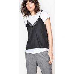 T-shirt z naszytą koszulką. Szare bluzki z odkrytymi ramionami La Redoute Collections, l, z okrągłym kołnierzem, z krótkim rękawem. Za 57,92 zł.