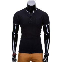 T-SHIRT MĘSKI BEZ NADRUKU S667 - CZARNY. Czarne t-shirty męskie z nadrukiem Ombre Clothing, m, z bawełny, ze stójką. Za 35,00 zł.