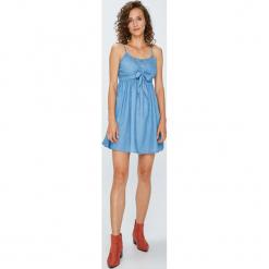 Answear - Sukienka. Szare sukienki mini marki ANSWEAR, na co dzień, l, z bawełny, casualowe, na ramiączkach, rozkloszowane. W wyprzedaży za 79,90 zł.