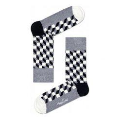 Skarpety Happy Socks Filled Optic (FO01-901). Białe skarpetki męskie Happy Socks, z bawełny. Za 23,99 zł.