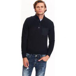 Swetry męskie: SWETER MĘSKI NIEROZPINANY ZE STÓJKĄ ZE STRUKTURALNEJ DZIANINY