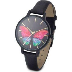 """Zegarek """"Motyle"""" bonprix czarno-kolorowy. Czarne zegarki damskie marki bonprix. Za 54,99 zł."""